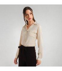 camisa beige silueta suelta cierre botonadura para mujer  97175