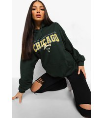 tall oversized chicago hoodie, green