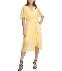 dkny flutter-sleeve faux-wrap midi dress