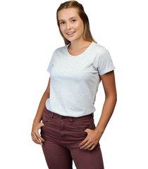 camiseta gris jaspe luck & load cuello redondo mujer