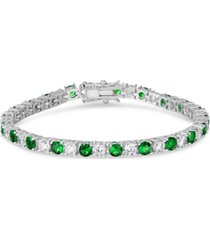 simulated cubic zirconia alternating line bracelet in fine silver plate