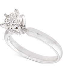 certified diamond solitaire ring (1 ct. t.w.) in 14k white gold