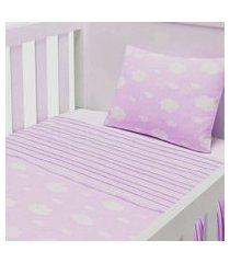 jogo lençol para berço 3 peças baby joy para berço americano nuvenzinha rosa