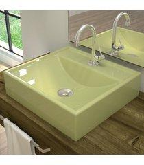 cuba para banheiro quadrada verde acqua q39 - compace