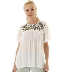 blusa aha bordado na pala feminina - feminino