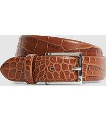 reiss milly - leather crocodile patterned belt in tan, womens, size l