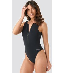 calvin klein square back one piece swimsuit - black