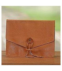 leather e-reader case, 'distinguished reader in brown' (indonesia)