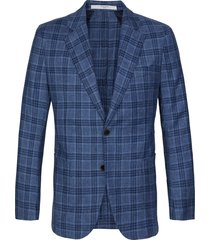 profuomo jacket woven check mid blue
