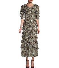 lynx silk ruffle dress