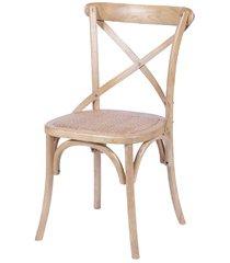 cadeira em madeira cross 48x55cm bege clara