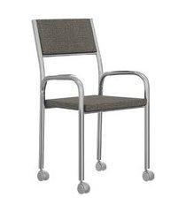 cadeira de escritório tubos cromados tecido bege carraro
