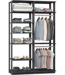 closet com 7 prateleiras 2 cabideiros espresso lilies móveis