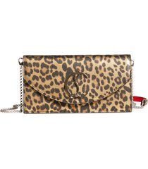 christian louboutin loubi54 leopard print metallic leather clutch - brown