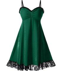 plus size christmas velvet lace panel flounce cami dress
