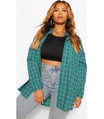 plus oversized geruite geborstelde blouse, groen