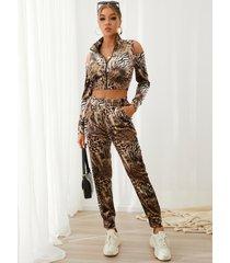 yoins leopard zip diseño conjunto de top corto de manga larga con hombros descubiertos y pantalones
