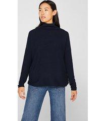sweater oversize con textura de canalé azul esprit
