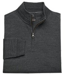 travel tech merino wool blend quarter zip mock neck men's sweater - big & tall