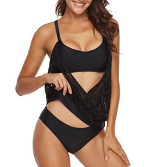 double up perforated surplice-front blouson tankini swimsuit