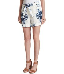 tahari asl printed belted cuffed suit shorts