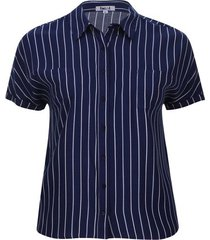 camisa manga corta estampada color azul, talla 1xl
