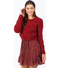 sid chunky cable sweater - wine