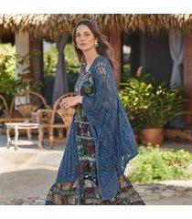 sundance catalog women's ultra femme ruana sweater in indigo xl