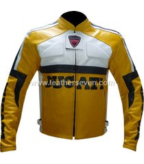 men mens ducati yellow leather motorcycle motorbike biker armour jacket