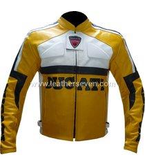 men mens ducati yellow leather motorcycle motorbike biker armour jacket