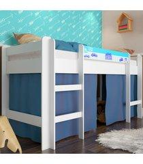 cama elevada com escada e espaã§o brincar azul lilies - azul/branco - dafiti