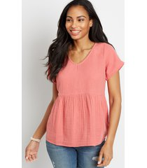 maurices womens button back babydoll top pink