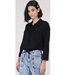 camisa feminina blusê com bolsos manga 7/8 preta