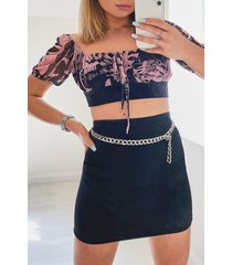 mesh tie detail top and mini skirt co-ord, pink