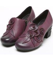 socofy retro scarpe in pelle manofatte floreali a metà tacchi