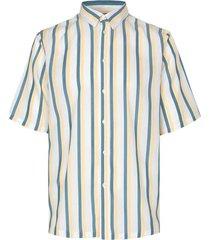 taro nx tencel gestreept overhemd met korte mouwen