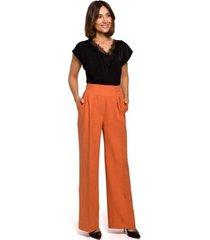 harembroek style s203 palazzo broek met elastiek in de taille - oranje