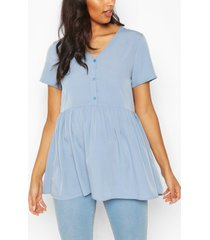 maternity button front woven smock top, pale blue