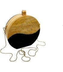 bolsa clutch wood bicolor