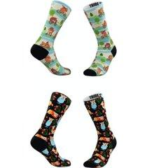 men's and women's playful corgis and bears socks, set of 2
