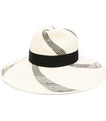 borsalino wide-brim straw hat - neutrals