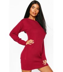 petite knitted rib roll neck sweater dress, berry