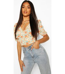 woven floral puff sleeve crop top, peach