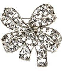 antique crystal silver bow brooch