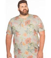 camiseta longford henley plus size estampada hibisco multicolorido - multicolorido - masculino - dafiti