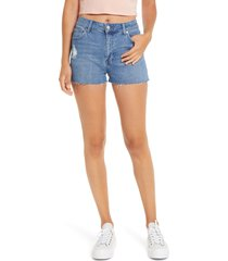 prosperity denim distressed fray hem high waist denim shorts, size 32 in med wash at nordstrom