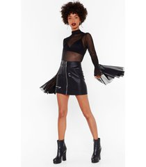womens don't mesh with me flare sleeve bodysuit - black