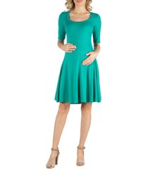 24seven comfort apparel knee length a line elbow sleeve maternity dress