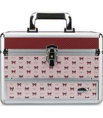 maleta de maquiagem rubys estampada alumínio reforçada rosa e vermelha