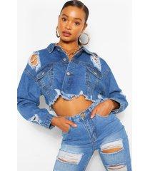 distressed crop jean jacket, mid blue
